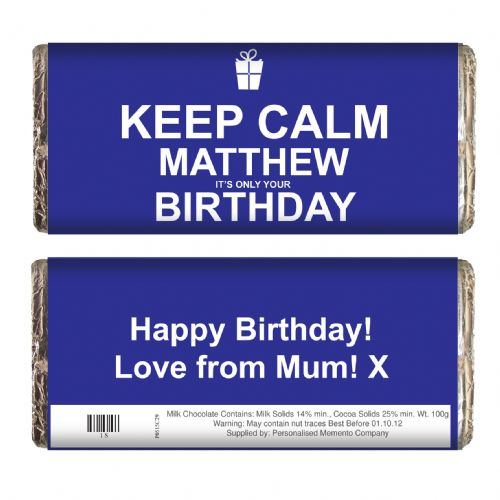 Personalised Keep Calm Birthday Chocolate Bar Blue